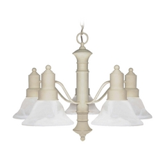 Chandelier with Alabaster Glass in Textured White Finish
