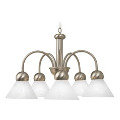 Modern Satin Nickel Chandelier with Alabaster Glass Shades