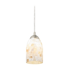 Mosaic Mini-Pendant Light with Dome Shade in Satin Nickel Finish