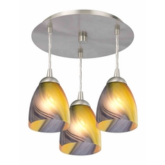 3-Light Semi-Flush Ceiling Light with Bell Art Glass - Nickel Finish