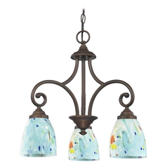 Mini-Chandelier with Blue Glass in Bronze Finish