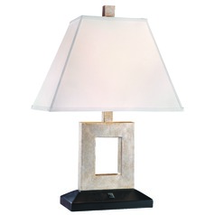 Table Lamp with Cream Linen Rectangle Shade