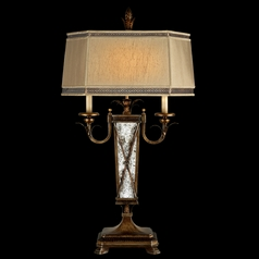 Fine Art Lamps Newport Burnished Gold with Silver Highlights Table Lamp with Hexagon Shade