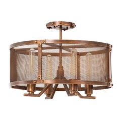 Kalco Chelsea Copper Patina Semi-Flushmount Light