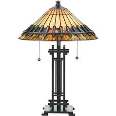 Table Lamp with Art Glass in Bronze Patina Finish