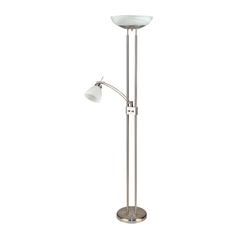 Modern Torchiere Lamp with Alabaster Glass in Polished Steel Finish