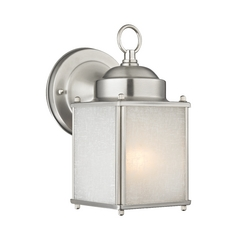 Small Square Outdoor Wall Light with White Frosted Linen Glass