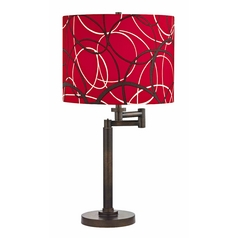 Design Classics Lighting Modern Swing Arm Lamp with Red and Grey Shade in Bronze Finish 1902-1-604 SH9518