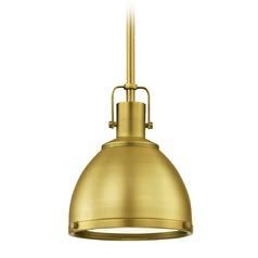 Industrial Brass Mini-Pendant 7.38-Inch Wide