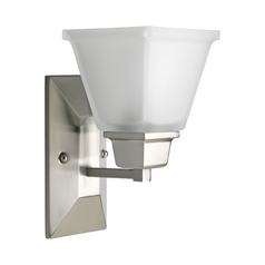 Progress Sconce with Square White Glass in Brushed Nickel Finish