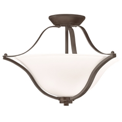 Kichler Semi-Flush Light with White Glass in Olde Bronze Finish