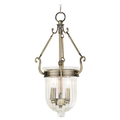 Livex Lighting Coventry Antique Brass Mini-Pendant Light with Bowl / Dome Shade