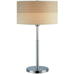 Table Lamp with Beige / Cream Shade in Polished Steel Finish
