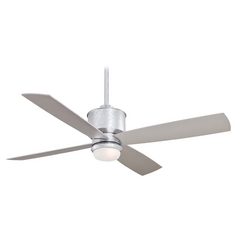 52-Inch Modern Ceiling Fan with Light with White Glass in Glavanized Finish