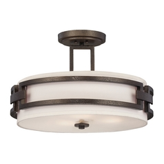 Semi-Flushmount Light with White Shades in Flemish Bronze Finish