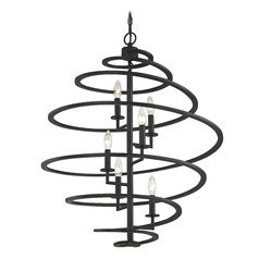 Spiral Pendant Light in Bronze with 6-Lights