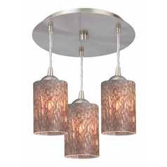 3-Light Semi-Flush Light with Brown Art Glass - Nickel Finish