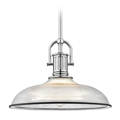 Farmhouse Industrial Prismatic Pendant Light Chrome / Black 14.38-Inch Wide