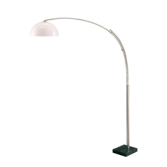Modern Arc Lamp with White in Polished Steel Finish