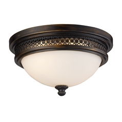 Flushmount Light with White Glass in Deep Rust Finish