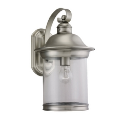 Outdoor Wall Light with Clear Glass in Antique Brushed Nickel Finish