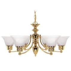 Chandelier with Alabaster Glass in Polished Brass Finish