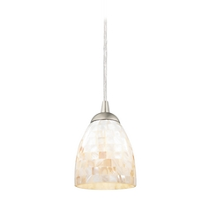 Mosaic Mini-Pendant Light with Bell Shade in Satin Nickel Finish