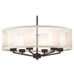 Organza Drum Pendant Light Bronze with White Art Glass 6-Light