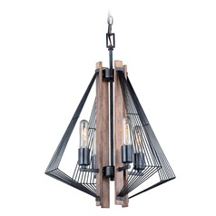 Art Deco Mini-Chandelier Black with Burnished Wood Dearborn by Vaxcel Lighting