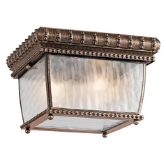 Kichler Close To Ceiling Light with Clear Glass in Bronze Finish