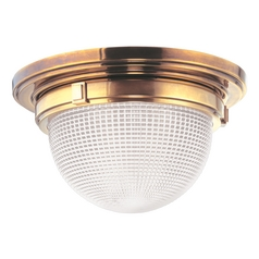 Flushmount Light with Clear Glass in Aged Brass Finish