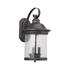 Outdoor Wall Light with Clear Glass in Antique Bronze Finish