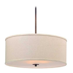 Remington Bronze Drum Pendant Light with Cream Linen Shade