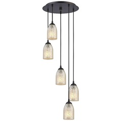 Bronze Multi-Light Pendant with Mercury Dome Glass and 5-Lights