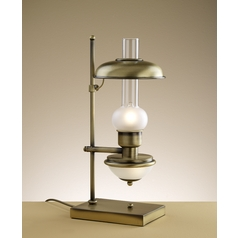 Table Lamp with White Glass in Antique Brass Finish