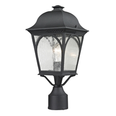 Seeded Glass Post Light Black Thomas Lighting