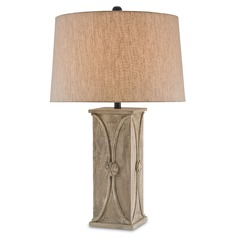 Currey and Company Coastsbridge Antique Concrete Table Lamp with Empire Shade