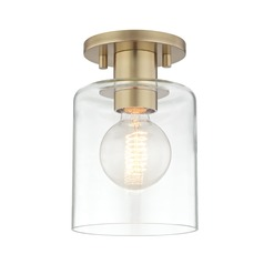 Neko Aged Brass Semi-Flushmount Light Mitzi by Hudson Valley