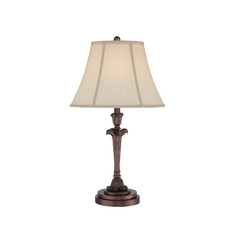 Table Lamp with Beige / Cream Shade in Palladian Bronze Finish