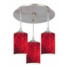 3-Light Semi-Flush Light with Red Glass - Nickel Finish