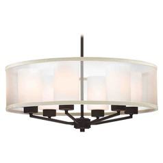 Organza Drum Pendant Light Bronze 6-Light