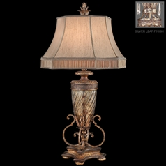 Fine Art Lamps Pastiche Silver Leaf Table Lamp with Bell Shade