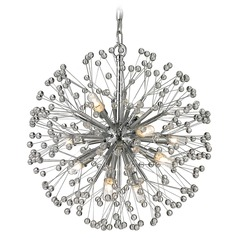 Mid-Century Modern Crystal Cluster Mini-Chandelier Chrome Starburst by Elk Lighting