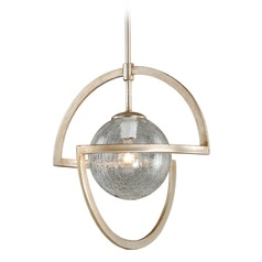 Mondial Silver Leaf Pendant Light with Globe Shade by Vaxcel Lighting