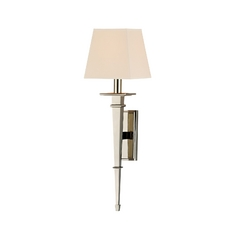 Sconce Wall Light with Beige / Cream Paper Shade in Polished Nickel Finish