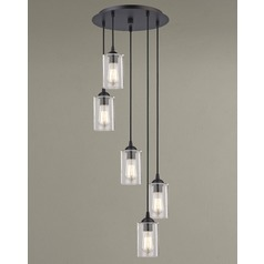 Seeded Glass Multi-Light Pendant Bronze 5 Lt