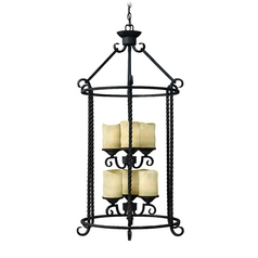 Pendant Light with Brown Glass in Olde Black Finish