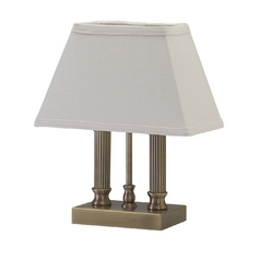 Table Lamp with White Shade in Antique Brass Finish