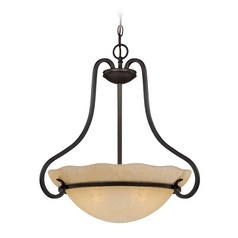 Pendant Light with Amber Glass in Natural Iron Finish