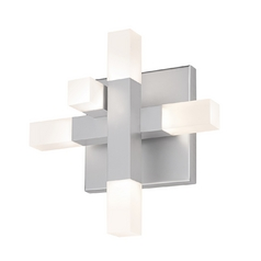Modern LED Sconce Wall Light with White in Bright Satin Aluminum Finish